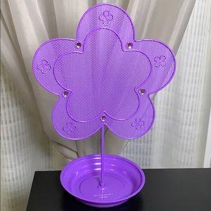 Purple earring jewelery stand